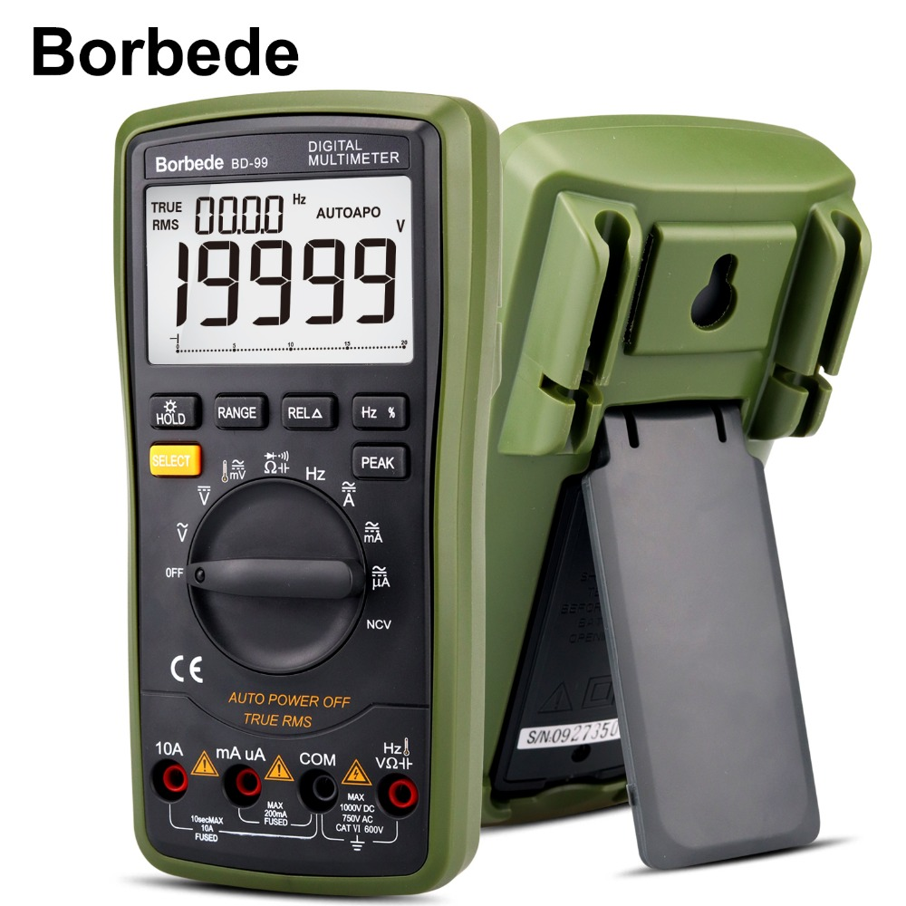 все цены на Borbede BD-99 Digital Multimeter 20000 Counts Auto Range DC AC Resistance Capacitance Peak Hold True RMS NCV Diode Tester онлайн