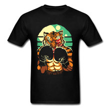 Tiger In The Ring T-shirt Boxer Lover T Shirt Men Cool Tops Cotton Tees Manly Summer Clothing Black Tshirt Animal Printed(China)