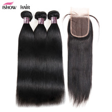 Ishow Straight Human Hair 3 Bundles With Closure Peruvian Hair Weave Bundles Free Part Lace Closure With Baby Hair Non Remy