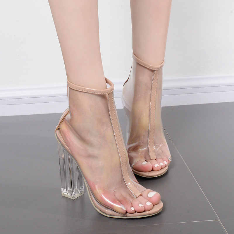 Gdgydh Yüksek Topuklu Yaz Ayakkabı Şeffaf Şeffaf yarım çizmeler Kadınlar Için Açık Ayak Kalın Topuklu kadın ayakkabısı Geri Fermuar Boyutu 40