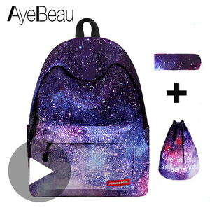 Image 1 - Schoolbag Bagpack Back Pack Portfolio School Bag Feminine Backpack Space Female Women Feminina For Boys Girls Teenager Sac a dos