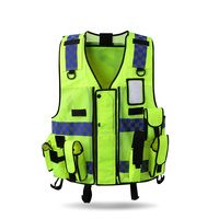 Reflective vest multi pockets construction workwear safety protection vest traffic road fluorescent clothes outdoor work jacket