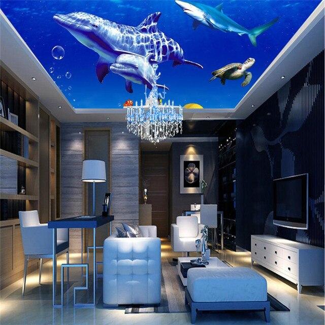 Us 1499 Tkaniny Jedwabne Tapety Fototapety Sea World Delfin Sufitowe Nowoczesne Malarstwo Dekoracyjne 3d Duży Mural Tapety Tło W Tkaniny Jedwabne