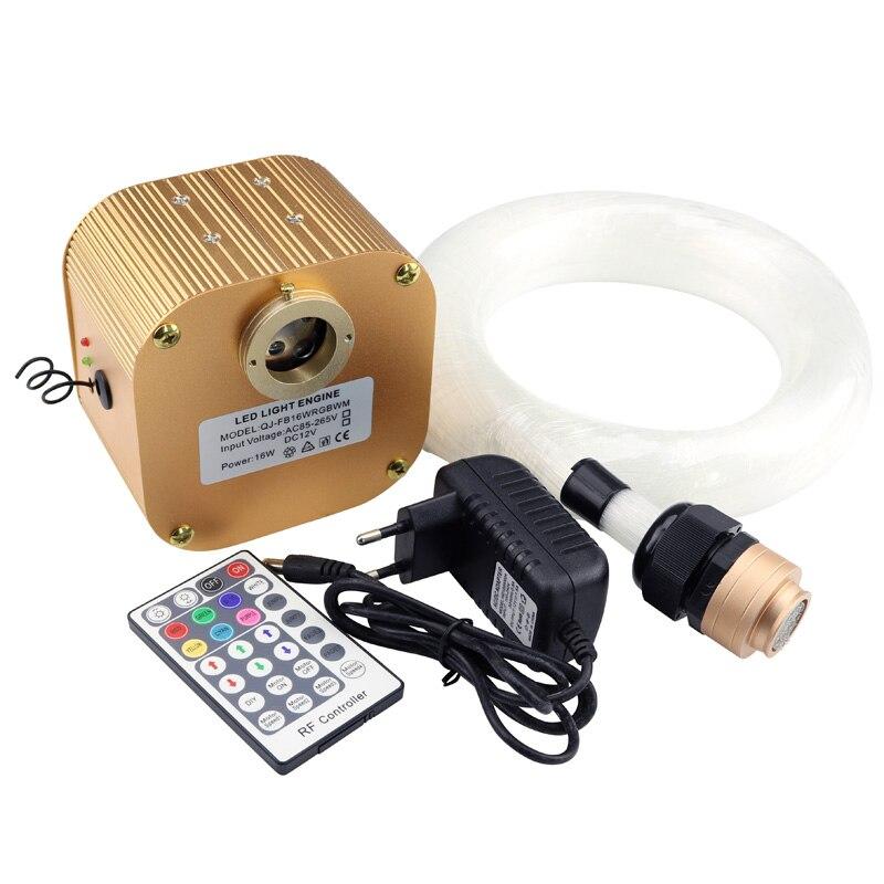 Kit de lumière sensorielle optique de fibre d'étincelle de scintillement de 16 W RGBW 450 pièces * 0.75mm * 4 M pour le rideau de point d'éclair, cascade, chambre sensorielle d'enfants - 2