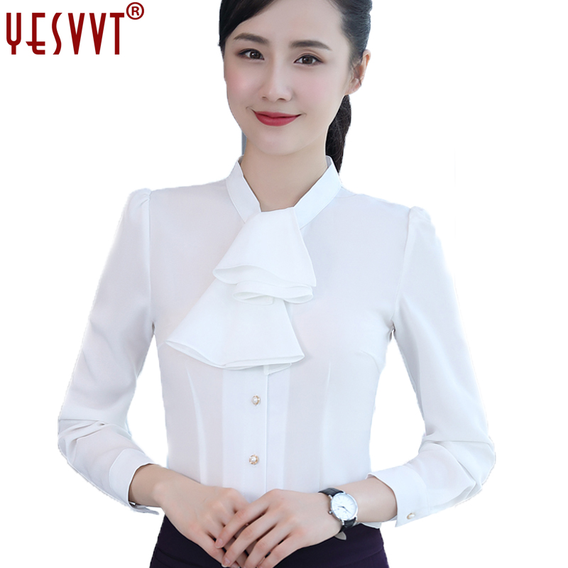 yesvvt 2017 autumn fashion chiffon shirt long sleeve blouse white shirt women formal blouse puff sleeve ladies office shirts