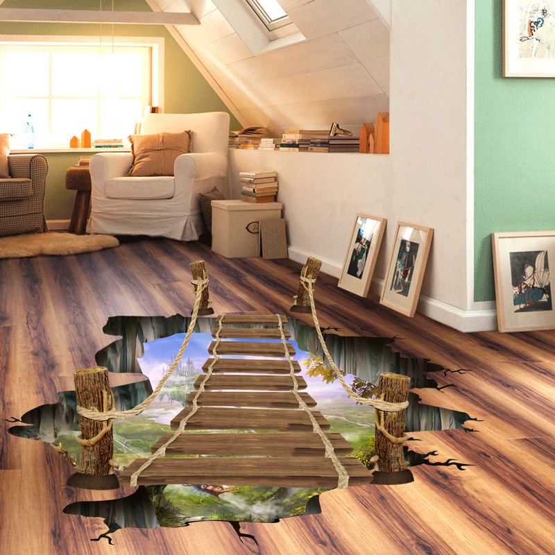 3D Bridge Floor wallpapers Sticker Wall Removable Mural Decals Vinyl Art Room for living room bedroom background wall Home Decor removable diy tree and birdcage pattern wall sticker for living room decor