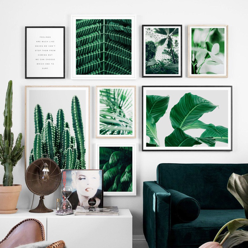 Cactus Banana Palm Leaves Nordic Posters And Prints Wall Art Canvas Painting Tropical Plants Wall Pictures For Living Room Decor