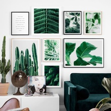 Cactus Banana Palm Leaves Nordic Posters And Prints Wall Art Canvas Painting Tropical Plants Pictures For Living Room Decor