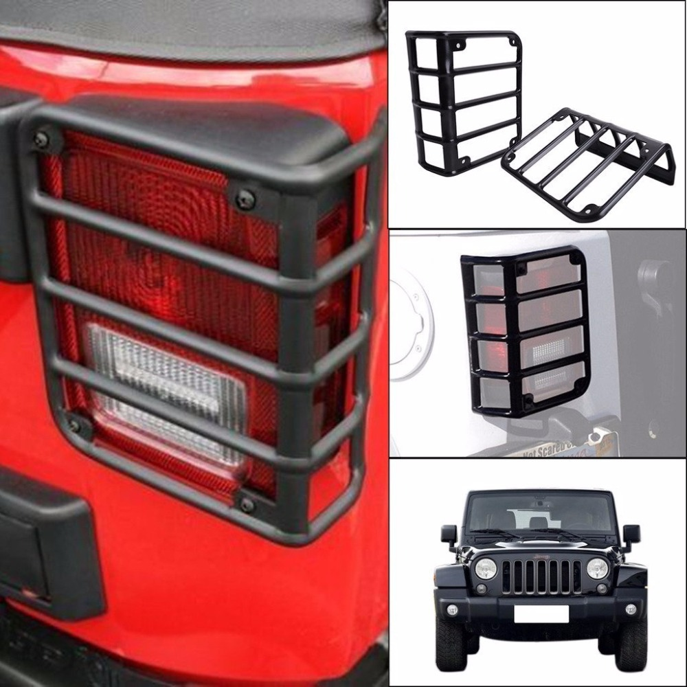 For 2007 - 2017 Jeep Wrangler JK Unlimited Matte Black Light Guard Covers For Rear Taillights ( Tail Light ) high quality new generation led car rear taillights tail lamps for jeep wrangler jk play and plug