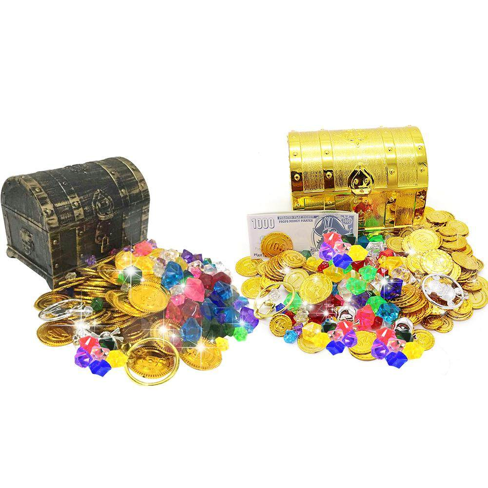 Treasure Chest Box Plating Retro Plastic Large Size Treasure Chest Toy Set Halloween Party Children Gift Magic Tricks