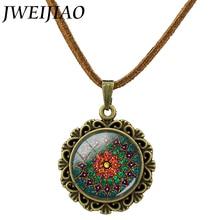 Retro Om Leather Necklace Mandala Flower Pendant India Choker Statement Necklaces Chakra Zen Yoga Friendship Jewelry L214