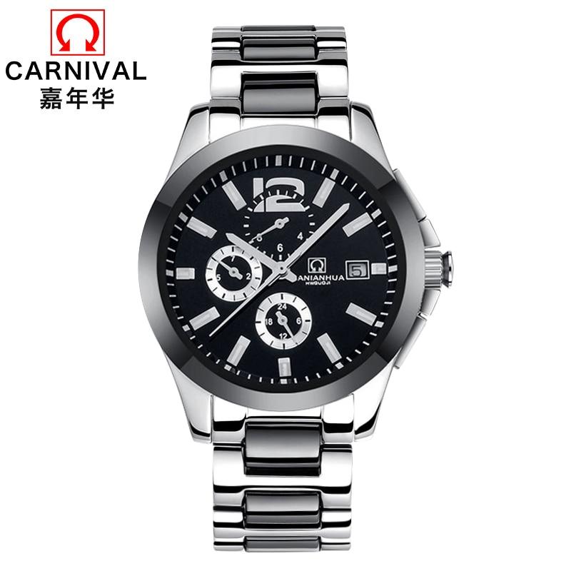 цена Carnival Ceramic Strap Automatic Watch Men Fashion Multifunction Mechanical Watches Mens Wristwatch Waterproof Clock kol saati