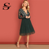 Sheinside Green Deep V Neck Sexy Lace Dress Women Long Sleeve Night Out Party Dresses Spring Summer Ladies Elegant Midi Dress