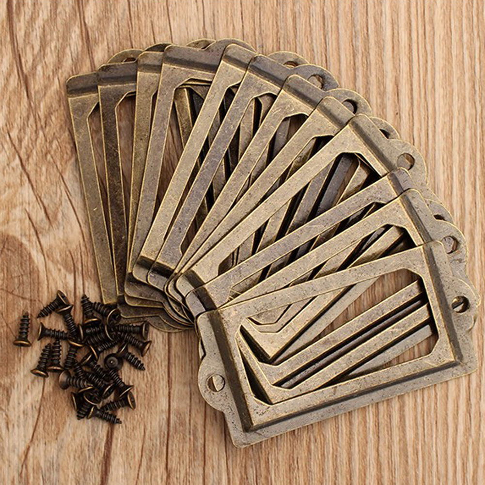 12Pcs Antique Brass Cabinet Drawer Metal Handle Label Office Library Post Office File Pull Frame Tag Name Card Holder Handle zoomer ruckus fi nps50 black engine frame extend extension kit with handle post