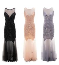 Women 1920s Great Gatsby 20s Flapper MAXI Dress Vintage V Neck Mesh wedding dress party prom CHARLESTON COSTUME