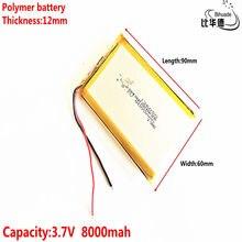Batterie lithium-polymère 126090 V, 3.7 mah, livraison gratuite, bricolage, chargeur d'urgence mobile, trésor