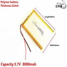Freies verschiffen 126090 3,7 V lithium polymer batterie 8000 mah DIY mobile notfall power lade schatz batterie