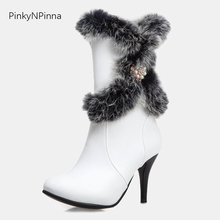 2019 winter large size high heels luxury middle calf boots woman short plush zipper rabbit fur crystal pearl warm shoes female все цены