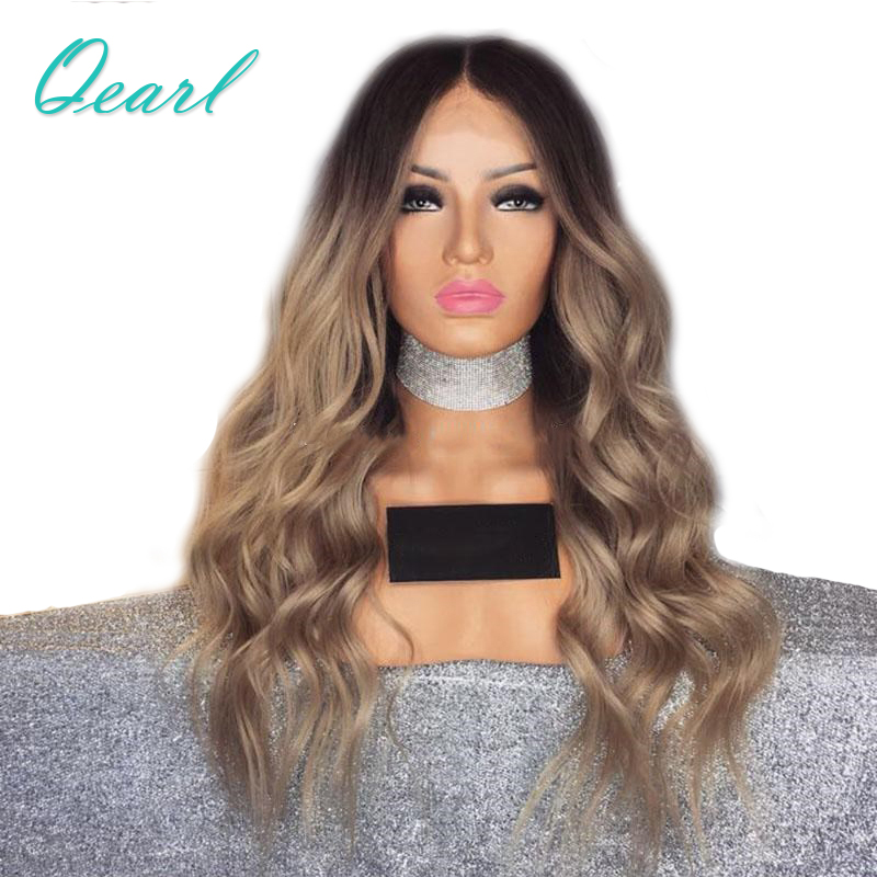 Qearl Hair 150% Density Ombre Color Lace Front Human Hair Wig Virgin Hair Dark Roots Pre-plucked Natual Hairline Lace Front Wig