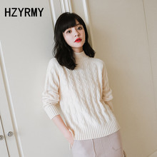 HZYRMY Autumn Winter New Women Cashmere Sweater Solid color High collar Knit Pullover Fashion Bottoming Shirt Loose Warm