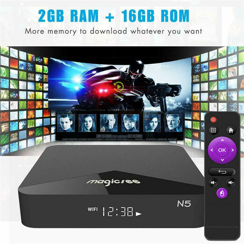 MAGICSEE N5 Android TV OS TV Box multilingue Android 7.1.2 2 GB Plus16GB 2.4G Plus 5G WiFi BT4.1 4 K HD