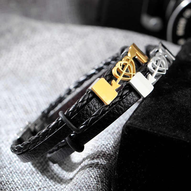 Podwójne serce i strzałka projekt skórzane bransoletki dla mężczyzn ze stali nierdzewnej plecione bransoletki i Bangles miłość biżuteria (BA102291)