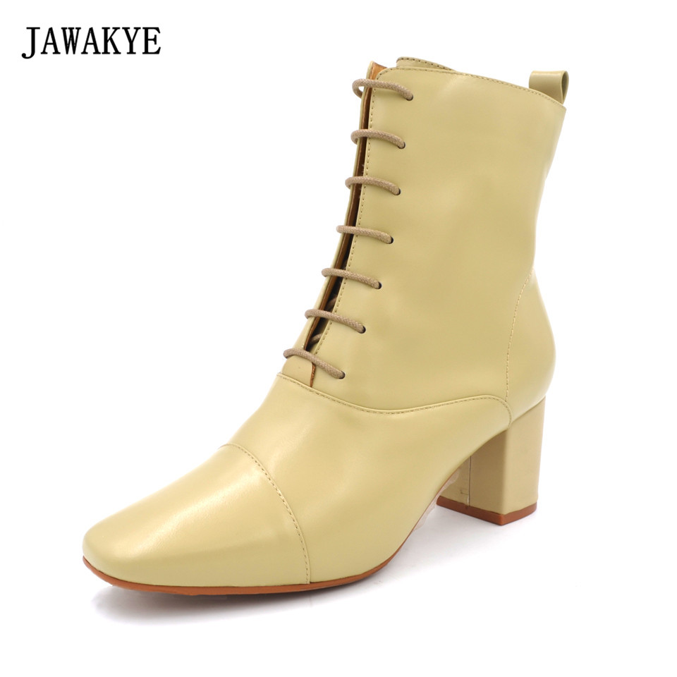 цена JAWAKYE Square Toe Lace Up Genuine leather nude Black Ankle Boots for Women Chunky High Heels Women Boots bota feminina
