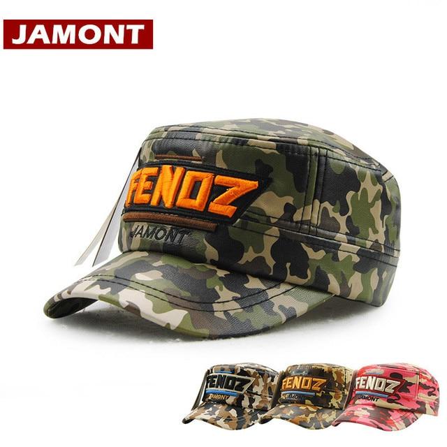 JAMONT  invierno niños Gorras militares sombrero niños Snapback PU  camuflaje carta bordado niños gorra 8c33a514d6d