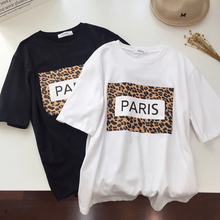 Letter Leopard Letter Print T shirt Women T-Shirt Short Sleeve Plus Size Summer Tshirt Female Top Vintage Tee Shirt Loose 2019 letter square print t shirt
