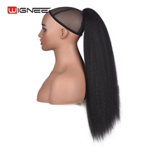 Wignee 22Kinky Straight Ponytail Extension For Women Heat Resistant Synthetic Long Hair With Combs Black Pauf Afro Chignon