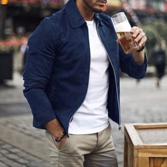 EXCARGO Clothing For Men Jacket Coat   Suede     Leather   Short Design Male Coats Men Jackets Autumn 2019 New Men Fashion Outwear Coat