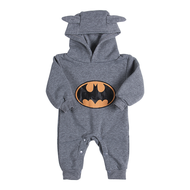 Hot Autumn Winter Baby Boys Cotton Romper Newborn Hoodies Batman Jumpsuit 2017 New Arrival Baby Boys Clothes For Newborns 3-24M baby hoodies newborn rompers boys clothes for autumn hooded romper cotton jumpsuit child kids costumes girls clothing