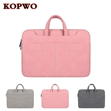 KOPWO PU Leather Laptop Briefcase Universal Waterproof Notebook Bag Gray Pink Inner Bag for Apple Macbook Dell Sony Lenovo 13 15