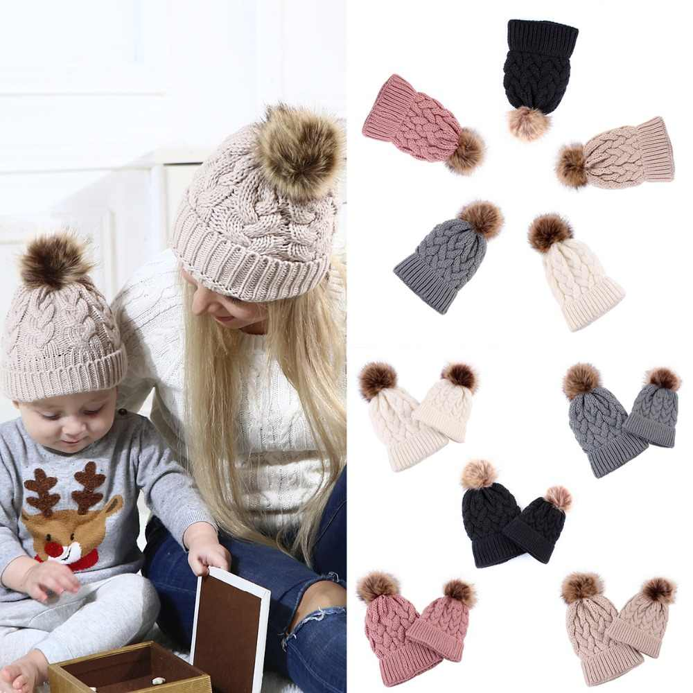 89e8eaf438e73 Puseky Knitted Wool Pompom Hat Women Girl Winter Beanie Cap Family Matching  Outfit Lady Faux Fur