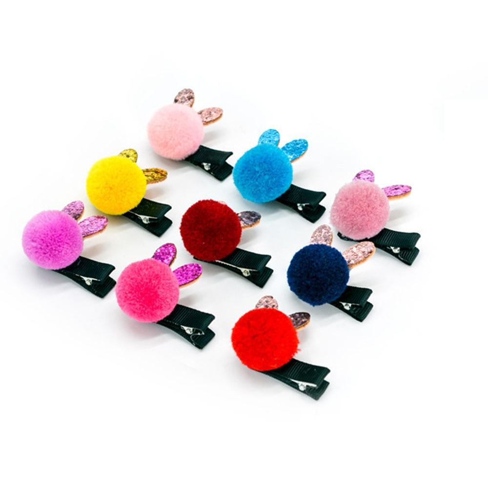Cute Ear Sequin Pom Ball Hairpins Children   Headwear   Hair Clips Girls Small Pompom Hairclip Grips Kids Baby Pins Hair Accessories