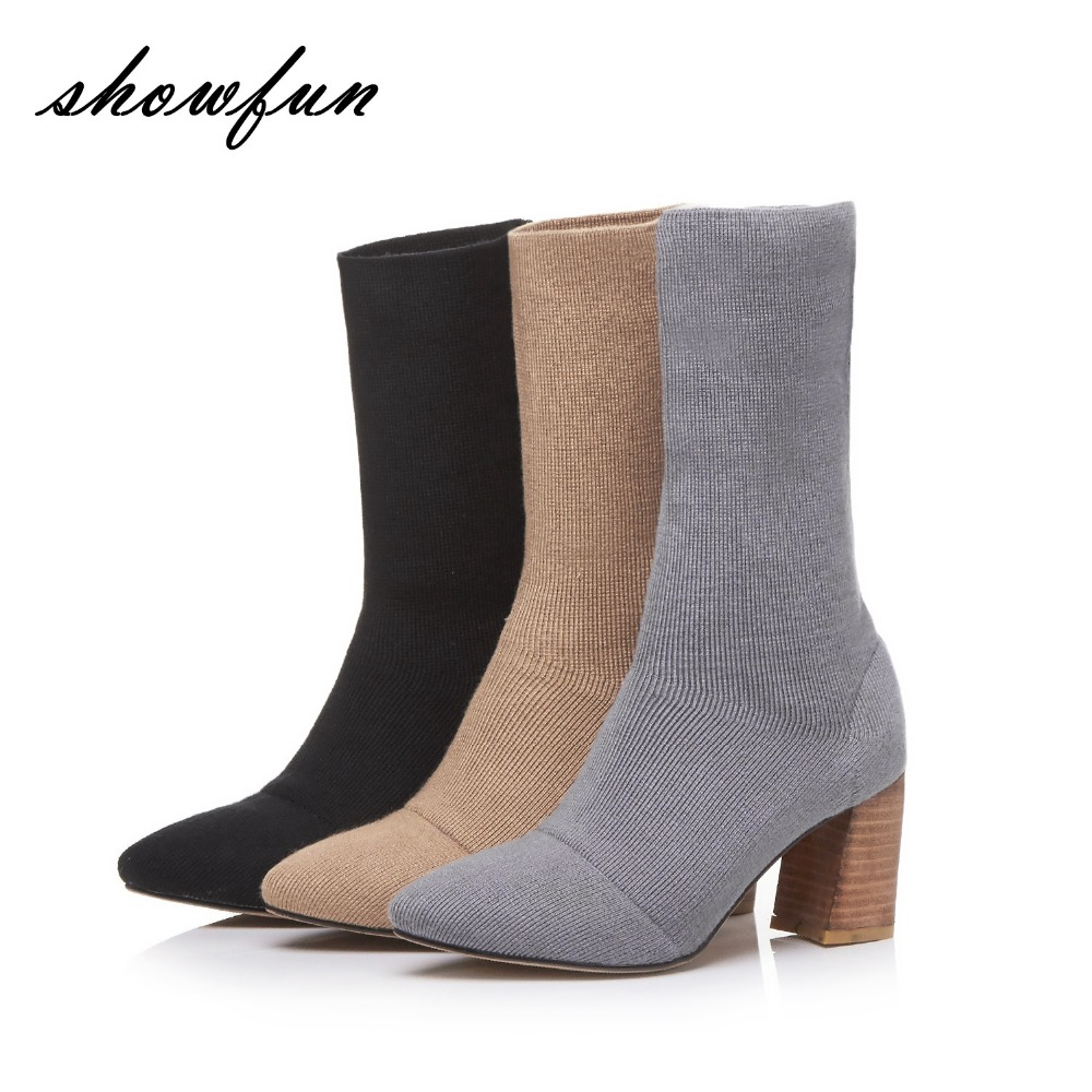 3 Color Plus Size Women's Thick High Heel Wool Knit Autumn Slip-on Ankle Boots Brand Designer Comfortable Female Footwear Shoes inc international concepts plus size bootcut pull on ponte knit pants