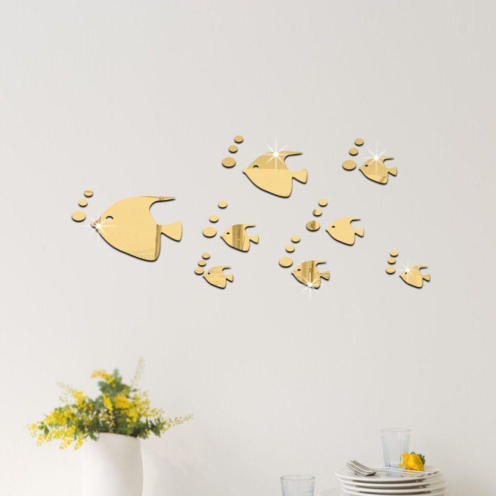 b69cc318da687 2017 nova 3D diy criativo grupo peixe espelho de cristal adesivo Removível  Decalques Da Janela Da sala de estar do quarto decoração de Casa