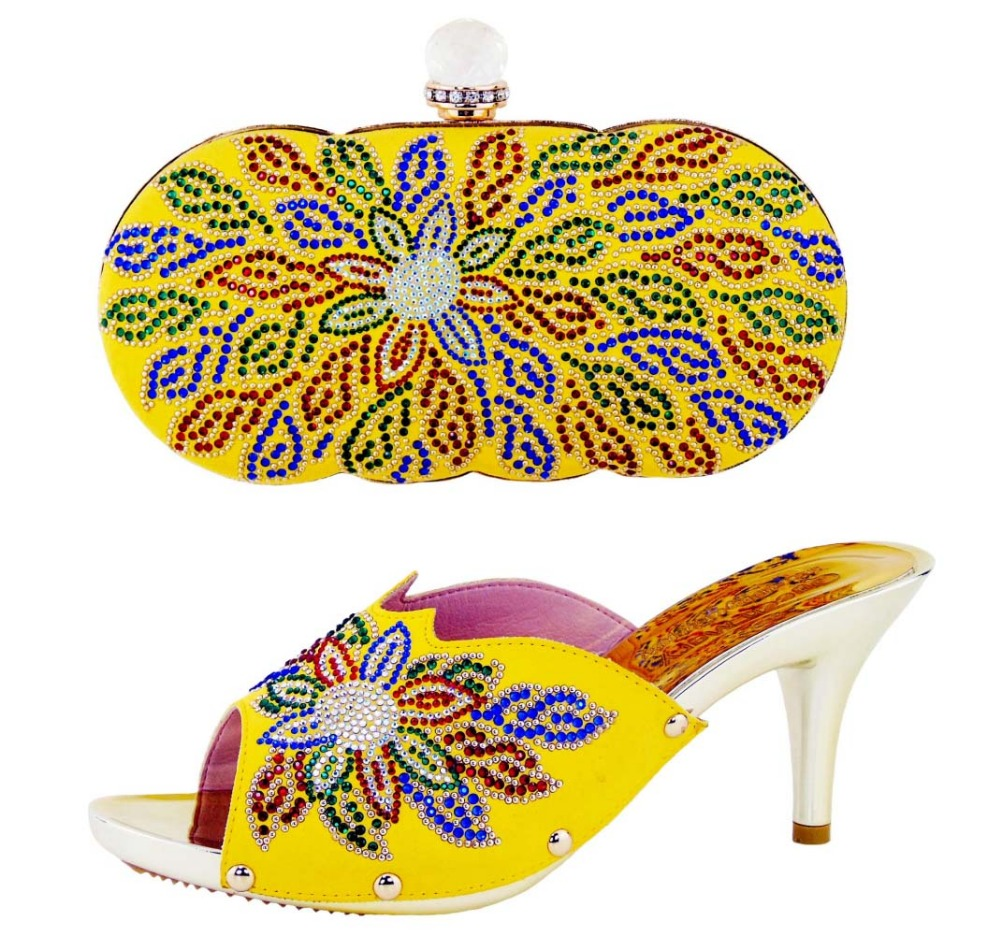 ФОТО High quality matching Italian shoes and bag set for evening party in yellow open toe sandals and clutch bag   YN1-11