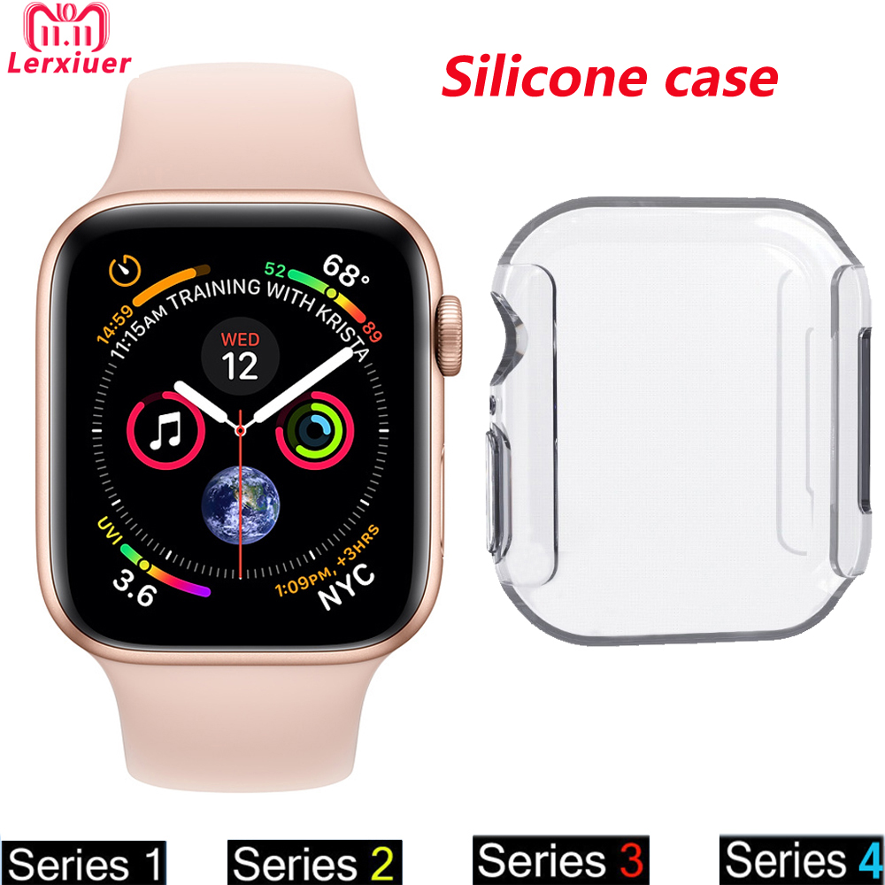 цены на Silicone protector case For apple watch band 44mm 40mm 42mm 38mm iwatch series 4 3 2 1 watch cover Ultra-thin Clear frame shell в интернет-магазинах