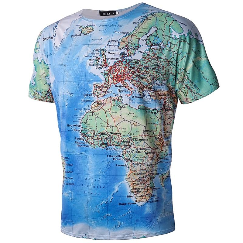 2018 Summer Short Sleeve Anime Tops Tee Fashion Mens Clothing Brand 3D T Shirt Men World Map T-shirt Funny T Shirts Male