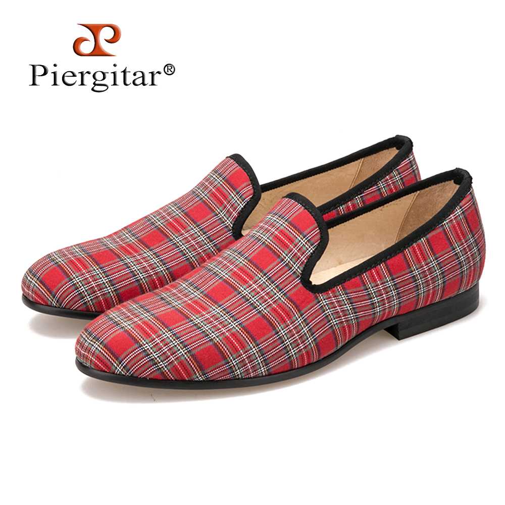 Piergitar 2017 new handmade Scottish Plaid Men Fabric Shoes Men casual loafers Men Plus size Flats Size US 4-17 Free shipping