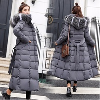 Hit Color Big Fur Collar Jacket Winter Woman 2019 New Fashion Large Size Hooded Long Cotton Padded Coat Winter Jacket For Women