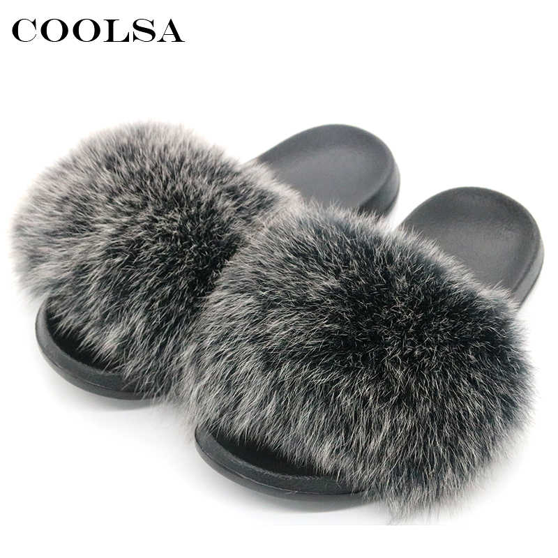 9cd8ecbfbc55 ... Women Fur Slippers Raccoon Fur Sandals Fluffy Fox Hair Slides Soft Flat  Indoor Home Slipper Woman ...