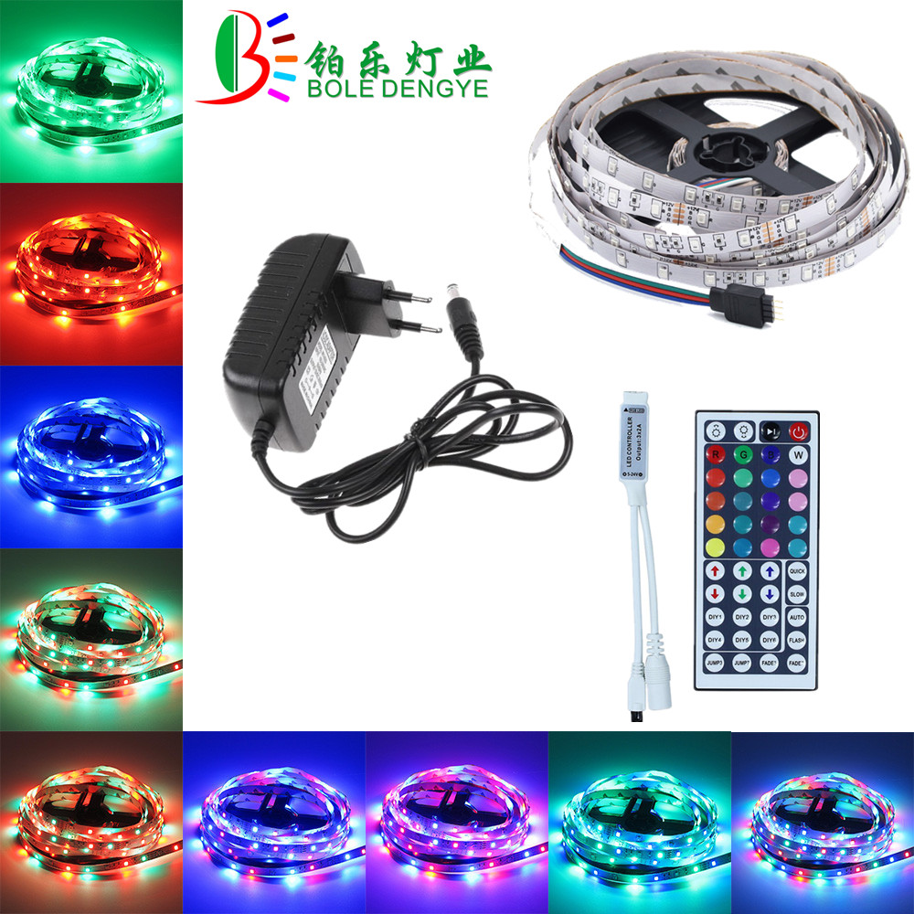 5M 10M RGB LED Strip 12V 60 Leds/m SMD 2835 Waterproof Flexible Tape Ribbon Colorful Rope Light String Lamp+LED Controller+Power