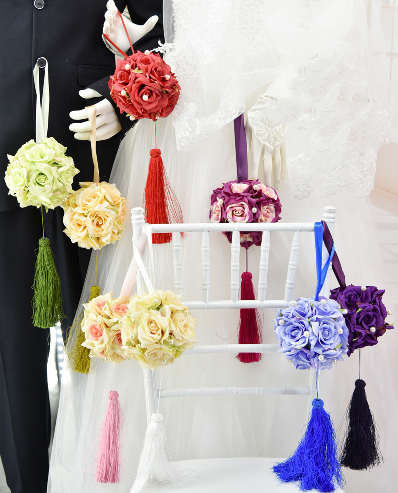 High Quality Diameter 12.5cm Hanging Artificial Flower Ball Wedding Party Prom Home Decoration Wedding Supplies Chair Flower