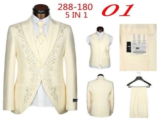 New 2015 Brand Men Suits Fashion Wedding Suits For Men 5 Piece Set (Jacket + 0d5d8ea6a936