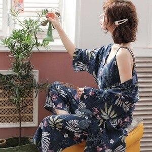 Image 4 - Pyjama chaud en coton pour Femme, nouvelle collection, manches longues, doux, ensemble 3 pièces printemps automne, fleurs
