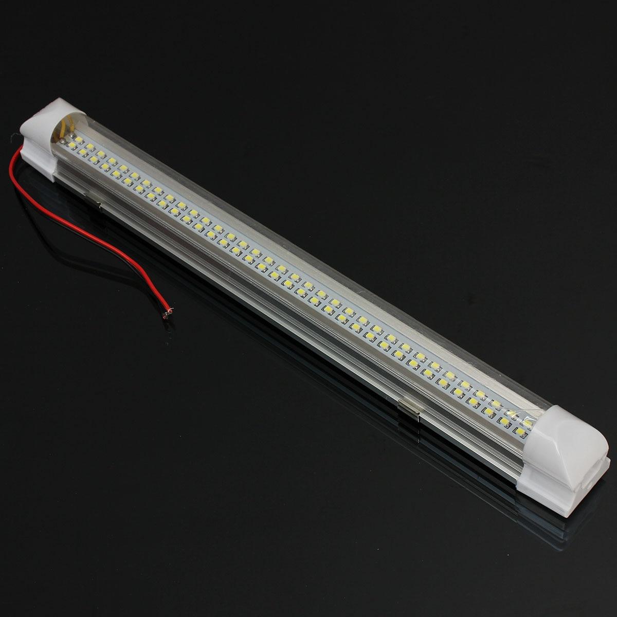 2x 12V Universal Durable Car Auto Caravan Interior 72 LED White Light Strip Bar 340MM Lamp ON/OFF Switch