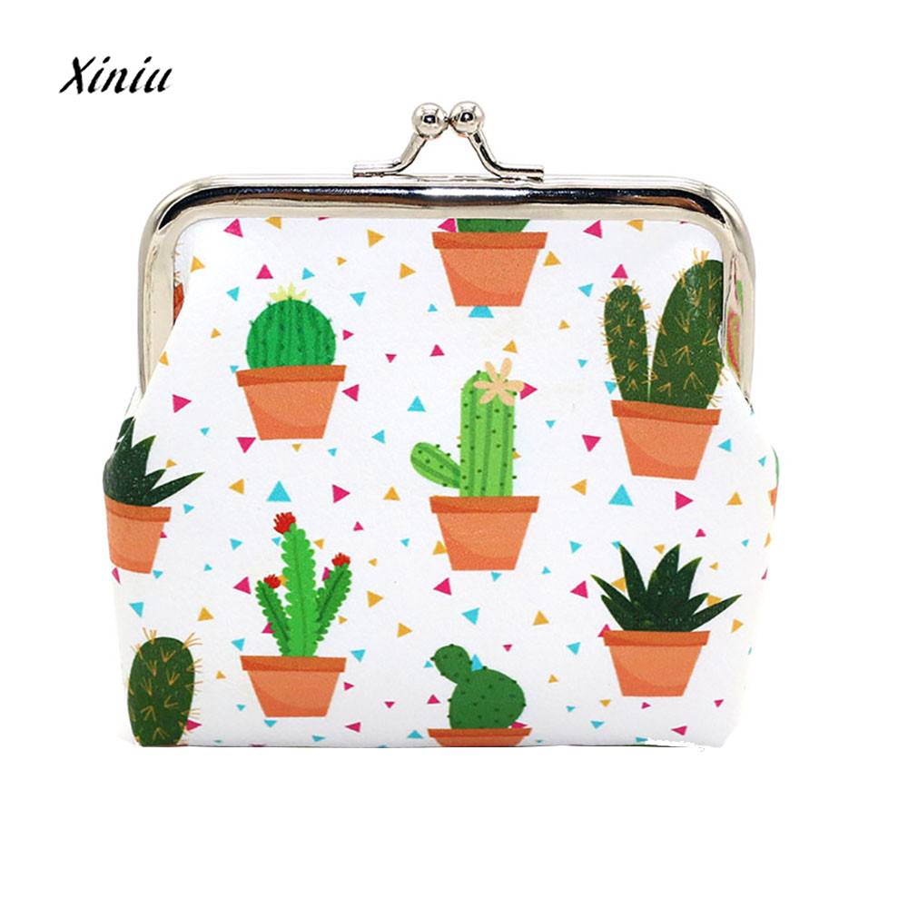 Women Cute Cactus Pattern Fashion Snacks Bag Hasp Leather Coin Purses Wallet Ladies Change Pouch Key Holder Small Purse 2017 new coin purses wallet ladies 3d printing cats dogs animal big face change fashion cute small zipper bag for women pouch