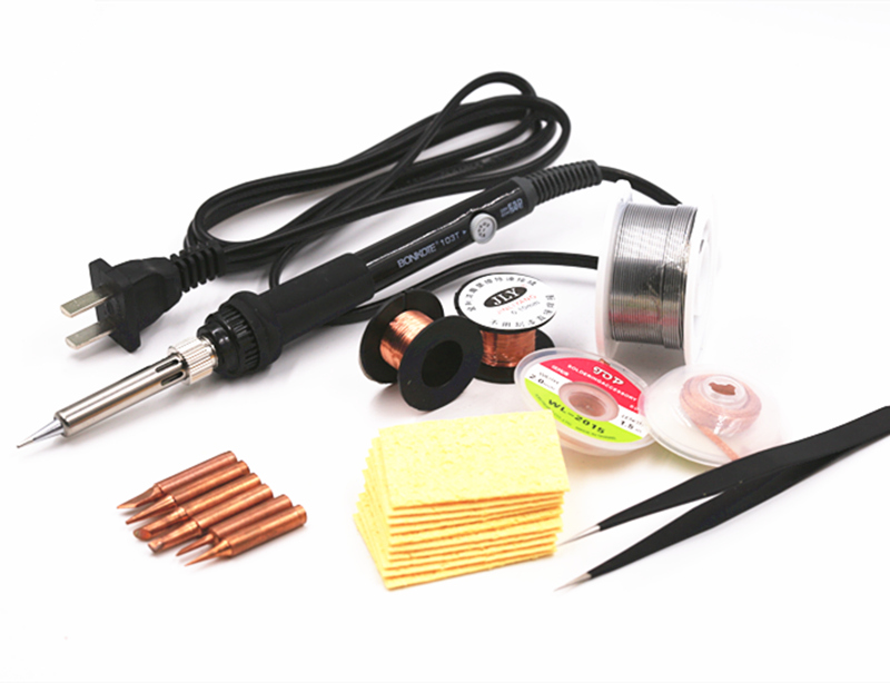 SZBFT Good quality 220V 60W Adjustable Temperature Electric Soldering Irons Kit with sponge copper tips soldering wick wires